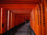 Traditional Torii with Inscription at Fushimi Inari Shrine Near Kyoto, Kyoto, Kinki, Japan
