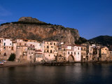 Rocky Crag Known as La Rocca (The Rocky) Rises Behind Town, Cefalu, Sicily, Italy