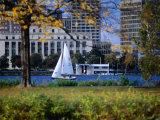 Sailing off the Esplanade on the Charles River, Boston, Massachusetts, USA