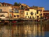 Morning Sunlight on Buildings on Harbour Hania, Crete, Greece
