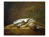 A Hare, Two Dead Thrushes, a Few Stalks of Straw on a Stone Table, Around 1750