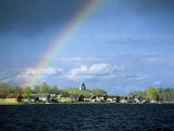 Rainbow Over Vershinino C18th St. Nikola Chapel, Kenozersky National Park. Lake Kenozero, Russia