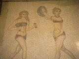 Girls in Bikinis Doing Gymnastics, Near Piazza Armerina, Italy