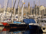 Port Vell (Old Port) and Old City Behind, Barcelona, Catalonia, Spain