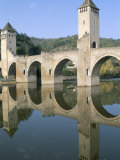 The Fortified Valentre Bridge Dating from 14th Century, Town of Cahors, Quercy, Midi-Pyrenees
