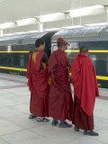 Lamas Awaiting Arrival of Train, New Railway Station, Beijing to Lhasa, Lhasa, Tibet, China