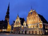 House of the Blackheads at Night, Town Hall Square, Ratslaukums, Riga, Latvia, Baltic States