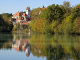 St. Mang Monastery and Basilica Reflected in the River Lech, Fussen, Bavaria (Bayern), Germany