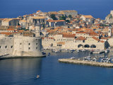 Aerial View of Harbour and Old City, Dubrovnik, Unesco World Heritage Site, Croatia