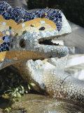 Close-Up of Mosaic Dragon, by Gaudi, Parc Guell, Barcelona, Catalonia (Cataluna) (Catalunya), Spain