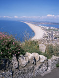 Chesil Beach and Portland Harbour, Isle of Portland, Dorset, England, United Kingdom