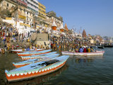 Early Morning Bathing in the Holy River Ganges Along Dasaswamedh Ghat, Uttar Pradesh State, India