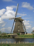 Canal and Windmill at Kinderdijk, Unesco World Heritage Site, Holland