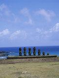 Beach with Nau Nau, Easter Island, Pacific Ocean, Chile, South America