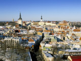 Elevated Winter View Over the Old Town, Tallinn, Estonia, Baltic States