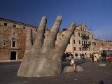 Stone Sculpture of Hand on Riva Degli Schiavoni, Venice, Veneto, Italy