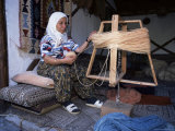 Woman Gathering Dyed Wool in Carpet Workshop, Kusadasi, Anatolia, Turkey, Eurasia