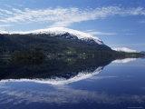 Fjord and Houses, Nordfjord, Norway, Scandinavia