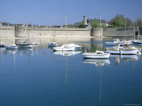 Reflections of Boats Moored in Harbour, Old Walled Town, Concarneau, Finistere, Brittany, France