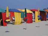 Multi-Coloured Beach Tents and Umbrellas, Deauville, Calvados, Normandy, France