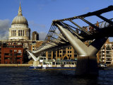 The Millennium Bridge Across the River Thames, with St. Paul's Cathedral Beyond, London, England