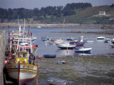 Fishing Boats and Pleasure Boats in Harbour, Cote De Granit Rose, Brittany, France