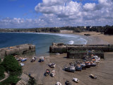 Harbour at Low Tide with Town Beach Beyond, Newquay, Cornwall, England, United Kingdom