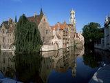 Looking Towards the Belfry of Belfort Hallen, Bruges, Belgium