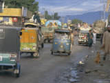 Three Wheeled Vehicles on Main Road, Mingora, Swat Valley, North West Frontier Province, Pakistan