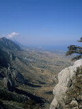 St. Hilarion View to the West Over Karaman Village and Mediterranean, Cyprus, Mediterranean