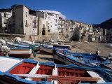 Fishing Harbour and Porta Pescara Beyond, Cefalu, Island of Sicily, Italy, Mediterranean