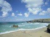 Porthcothan Bay with Trevose Head in Background, Cornwall, England, United Kingdom