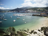 View of Beach, Harbour and Town, Bayona, Galicia, Spain