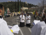 Palestinian Priests Heading the Palm Sunday Catholic Procession, Mount of Olives, Jerusalem, Israel
