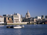 River Thames and City Skyline Including the Dome of St. Pauls Cathedral, London, England