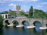 Cathedral, Medieval Bridge and the River Wye, Hereford, Herefordshire, England