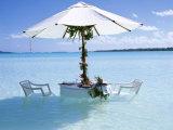 White Table, Chairs and Parasol in the Ocean, Bora Bora (Borabora), Society Islands