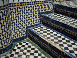 Detail of Tilework in Palace in the Medina, Fes El Bali, Fez, Morocco, North Africa, Africa
