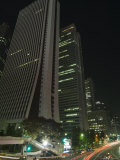 Car Trails at Night, Skyscrapers and City Buildings, Shinjuku, Tokyo, Japan