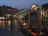 Grand Canal, Rialto Bridge at Night, Gondolas on Waterfront, Venice, Veneto, Italy