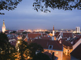 Skyline of Old Town Including St. Olav Church, Unesco World Heritage Site, Tallinn, Estonia