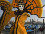 Masked Faces and Costumes at the Venice Carnival, Venice, Italy