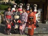 Girls Wearing Yukata, Kimono, Geisha, Maiko (Trainee Geisha) in Gion, Kyoto City, Honshu, Japan