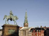 Nikolaj Church and Frederik VII Equestrian Statue, Copenhagen, Denmark, Scandinavia