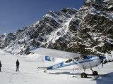 Small Plane Landed on Glacier in Denali National Park, Alaska, USA