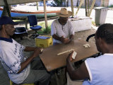 Local Fishermen Playing Dominoes, Vauclin, Martinique, Lesser Antilles
