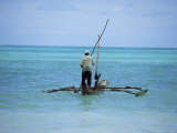 Man Sailing a Fishing Boat on the Indian Ocean, Zanzibar, Tanzania, East Africa, Africa