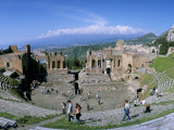 Morning Light on the Greek Theatre, Taormina, Island of Sicily, Italy, Mediterranean