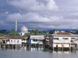 Stilt Village and State Mosque, Kota Kinabalu, Sabah, Island of Borneo, Malaysia