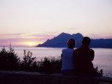 Couple Watching Sunset Near Porto, Corsica, France, Mediterranean